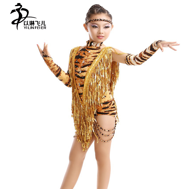Girls Latin Dance Dresses/Leopard Ballroom Latin Dance Dress/ Girls ...