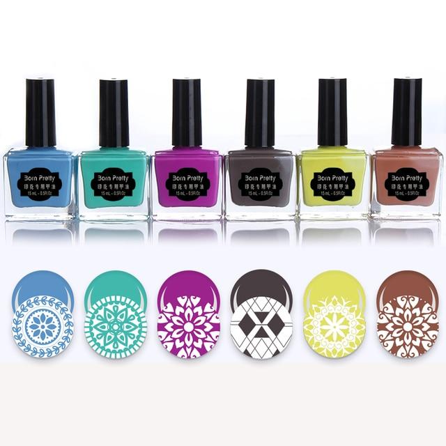 6pcs BORN PRETTY Nail Stamping Polish Set 15ml Sweet Color Nail Art ...
