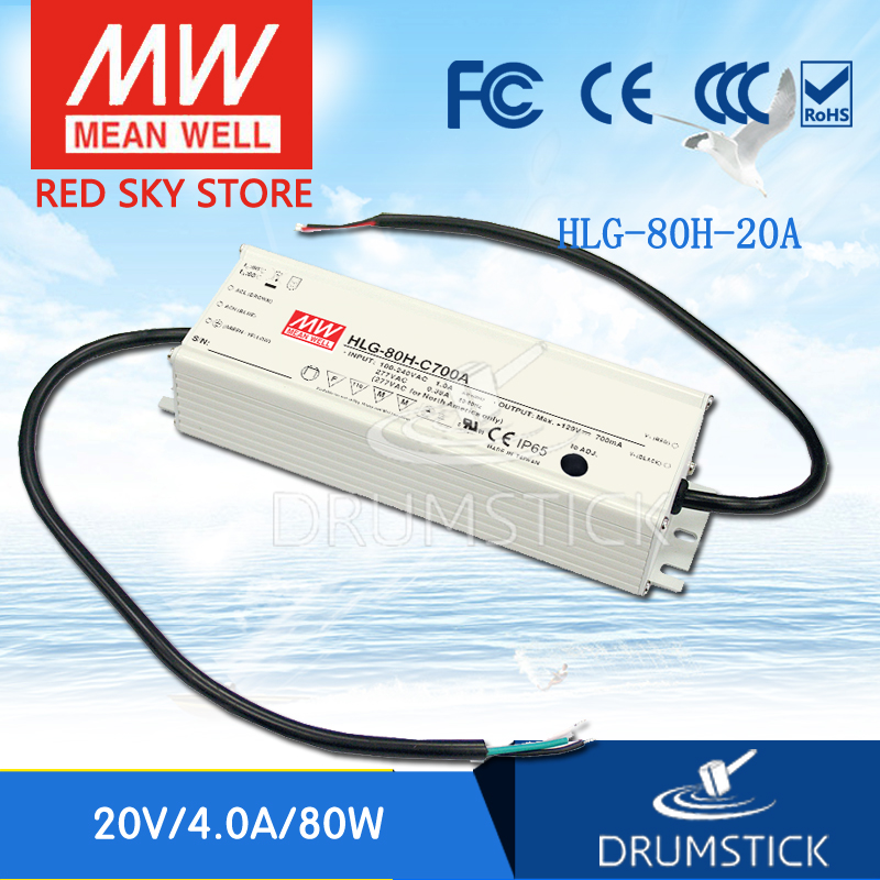 цена на Advantages MEAN WELL HLG-80H-20A 20V 4A meanwell HLG-80H 20V 80W Single Output LED Driver Power Supply A type