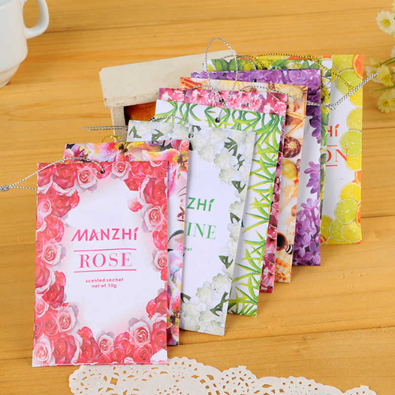 1PC 9 Kinds Smell Lavender Car Wardrobe Sachet Air Fresh Aromatherapy Natural Smell Incense Sakura Ocean Refreshing Scent Bag