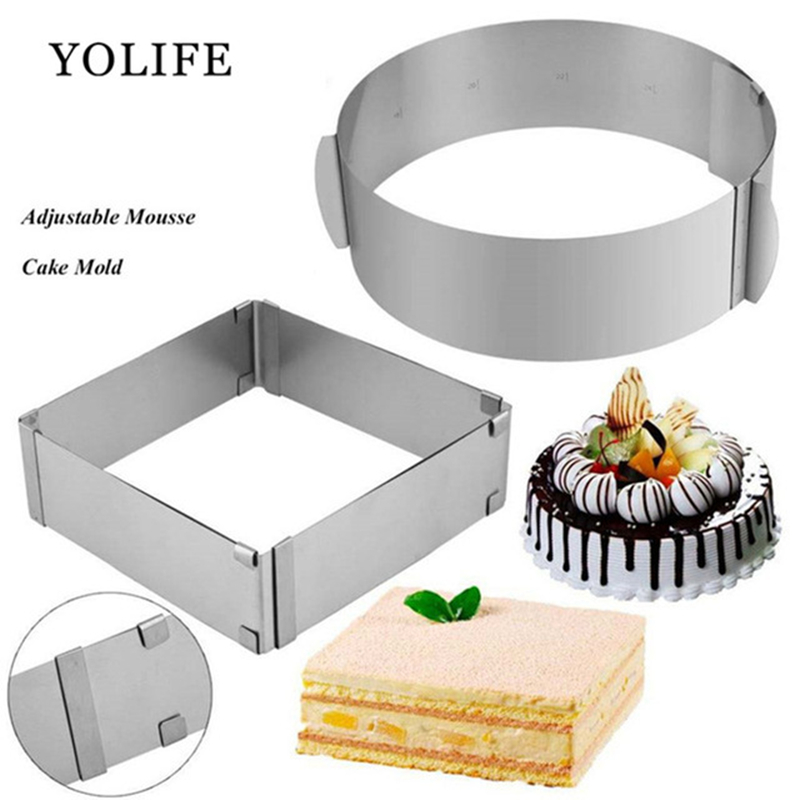 2 pçs conjunto de anel de mousse ajustável 3d round & square moldes de bolo de aço inoxidável moldes de cozimento acessórios ferramentas de decoração de bolo