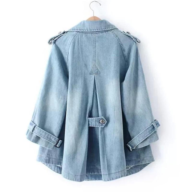 Blue 2018 Slim Coat New Blue Female Fashion Diting0168 Loose Size Spring Denim Short Dark Jacket Autumn light Double Large Breasted Women EvwBnIUpxq