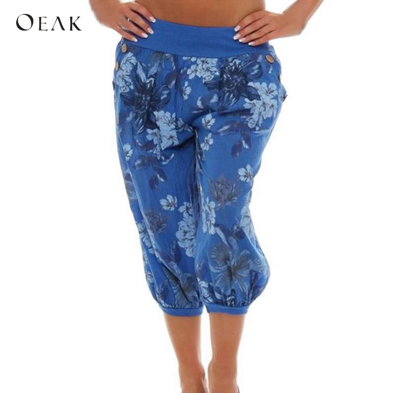 OEAK 2018 Women Loose Bohemian Pants Capris Casual Retro Floral Print Harem Pants Female Elastic Waist Trouser Boho Beach Pants