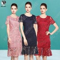 Women Elegant Short Evening Dress Lace Mother of the Bride Dresses Plus Size Short Sleeve Wedding Party Gown O Neck 3 Colour