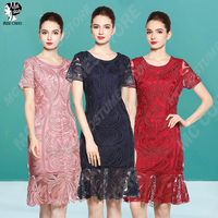 Women Elegant Short Evening Dress Lace Mother of the Bride Dresses Plus Size Short Sleeve Wedding Party Gown O Neck 3 Colour