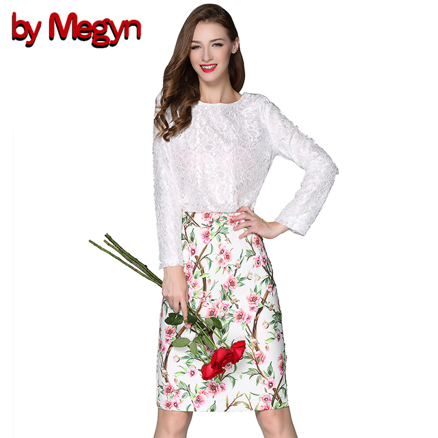 by Megyn 2 Piece Women Set  Casual Suits Lace Solid Color Tops + Floral Print Knee Length Skirt Women Bodycon Dress 14269