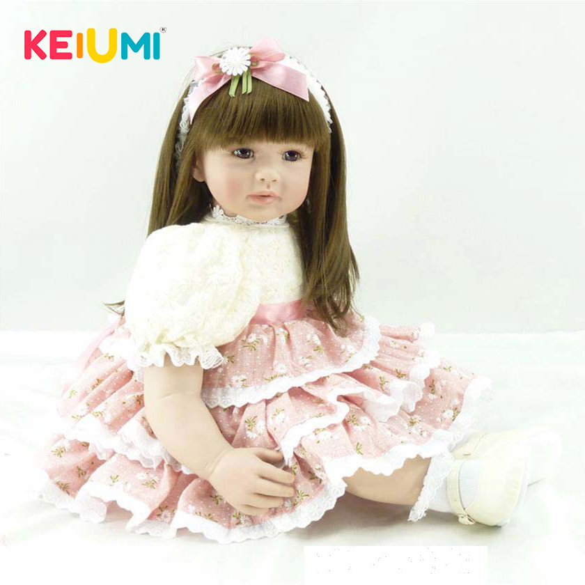 KEIUMI 24 Baby Doll Toys Real Like Princess Silicone Reborn Girl Kids Birthday Gifts 60 Cm Stuffed Dolls PP Cotton Body