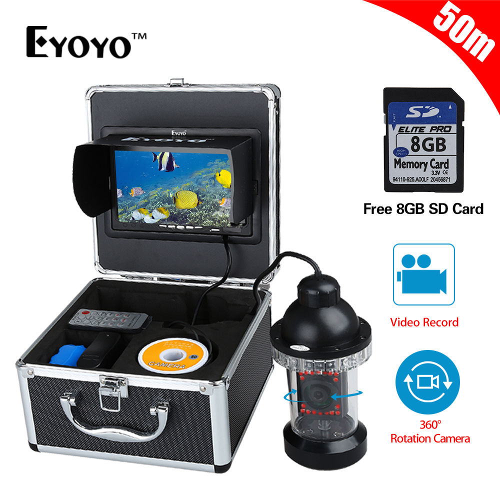 EYOYO 18pcs IR Infrared LED DVR Video Recorder 8G Card 50M/165FT 7 LCD Underwater Fishing Camera 360 degree Rotation Fishfinder 360 degree rotaton under water 50m dvr fishing camera av handheld endoscope