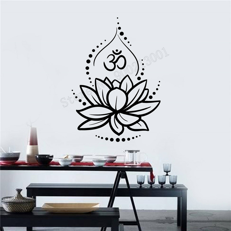 Art Wall Sticker Lotus Flower Wall Decoration Removeable Ornament