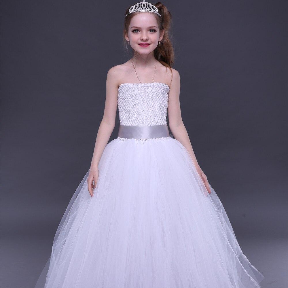 Weißes Erstkommunion-Mädchen-Ballettröckchen-Kleid mit - Kinderkleidung - Foto 2