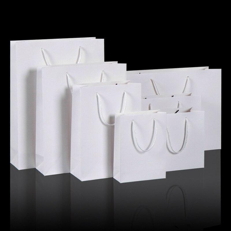 200 개/몫 화이트 크 래 프 트 종이 가방 핸들 결혼식 파티 호의 종이 선물 가방-에서선물가방&포장용품부터 홈 & 가든 의  그룹 3
