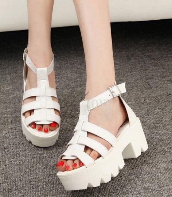 24166e02a67 Gladiator Summer Women Shoes Chunky Platform Sandals High Heel Strap Open  Toe Sandals Shoes Black White 35