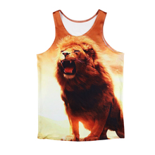 Brand Clothing Men Tank Tops Summer Slim Fit Animal 3D Lion Printed  Bodybuilding Undershirt Golds Fitness Sleeveless Tops