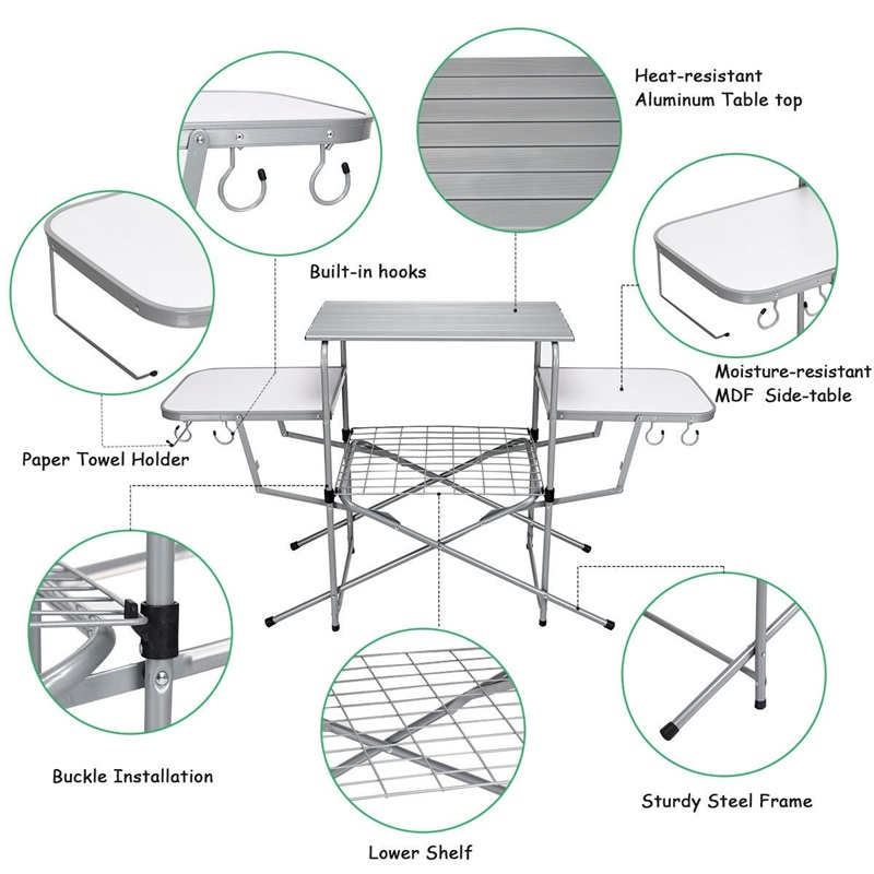 Plot - Foldable Outdoor Kitchen Grilling Stand BBQ Table