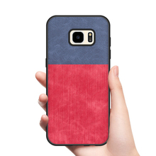 Case for Samsung Galaxy S7 S7 edge Case Soft TPU edge shockproof linen finish jeans PU leather back cover