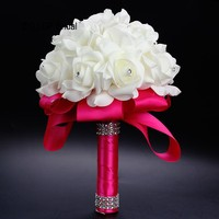 ZYLLGF Bridal Cheap Handmade Bouquet Bride Artificial Flowers Wedding Flowers Bridal Bouquets With Rhinestones WF4
