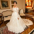 Luxury a-line lace appliques Wedding Dress full Sleeves court train Vestido De Noiva Free Shipping NB187