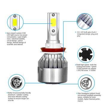 2Pcs/lot  C6 LED Headlights Bulbs Conversion Kit Lights 72W 8000LM HB3 HB4 9004 9005 H1 H3 H4 H7 Auto COB Car 6000K