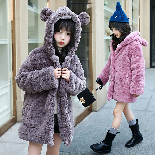 47bffaa96 Kids Girls Faux Fur Coat Girls Autumn Winter Warm Outerwear Kids ...