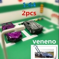 2pcs Discount package 1:64 veneno Alloy Sports car model Pull Back Double door Collection modification kids toys