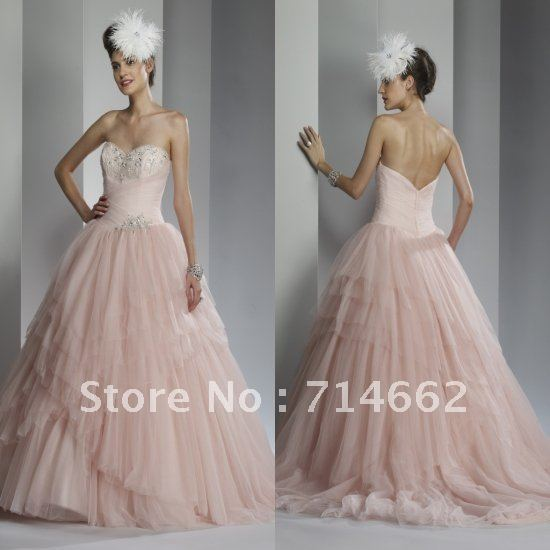 Free Shipping Custom Made Pink Sweetheart Beading Tulle Fabric Destination Bridal Gown Blush Wedding Dress