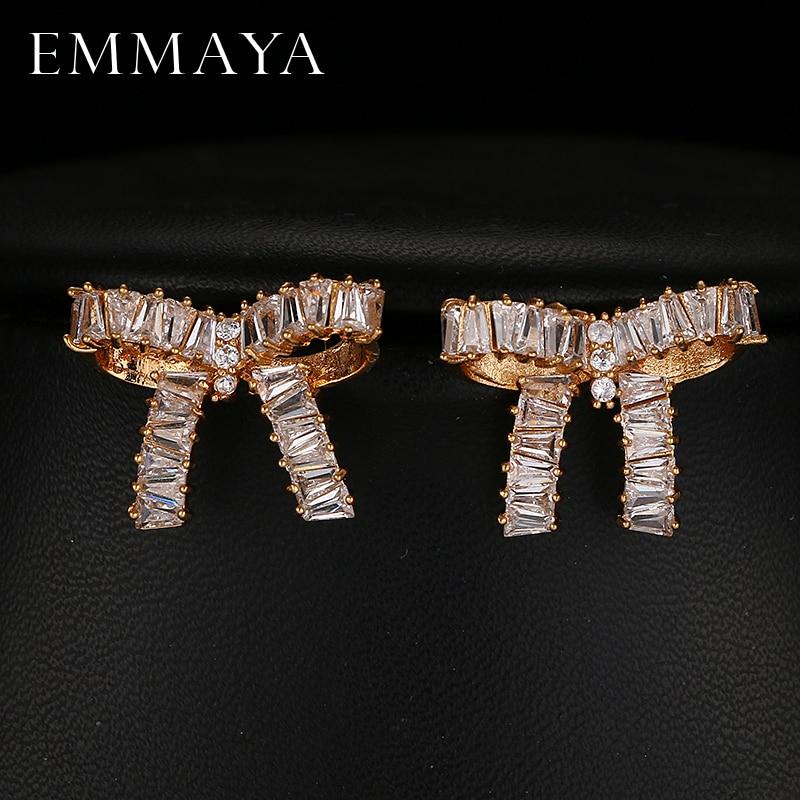 Emmaya New Bowknot Earrings AAA Cubic Zirconia Brincos Bar Setting Earrings For Women Fashion Jewelry Cocktail GiftEmmaya New Bowknot Earrings AAA Cubic Zirconia Brincos Bar Setting Earrings For Women Fashion Jewelry Cocktail Gift