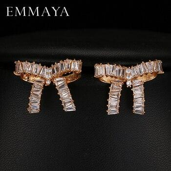 8385aa240e0b Emmaya nuevo Bowknot pendientes AAA Cubic Zirconia Brincos Bar ajuste pendientes  para las mujeres moda joyería cóctel regalo