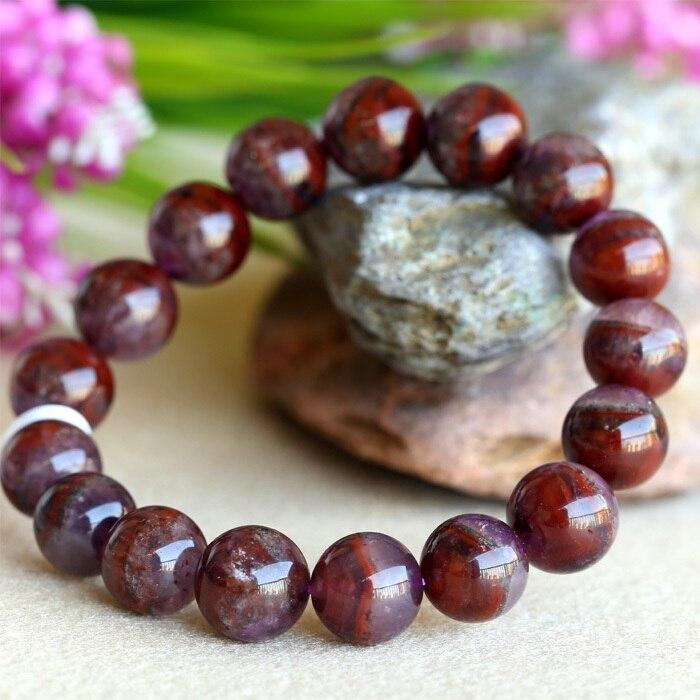 Přírodní originální fialový červený krystal Auralite Super-23 povrchové strečové pánské náramky kulaté korálky 6-16 mm