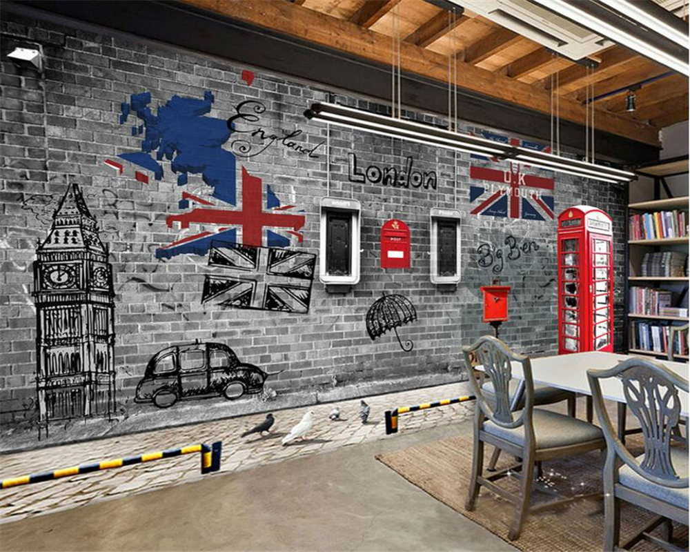 beibehang Custom 3D wallpaper Europe and the United States retro nostalgia London phone booth coffee background wall wallpaper europe and the united states popular bar chairs wholesale and retail australian fashion coffee stool free shipping