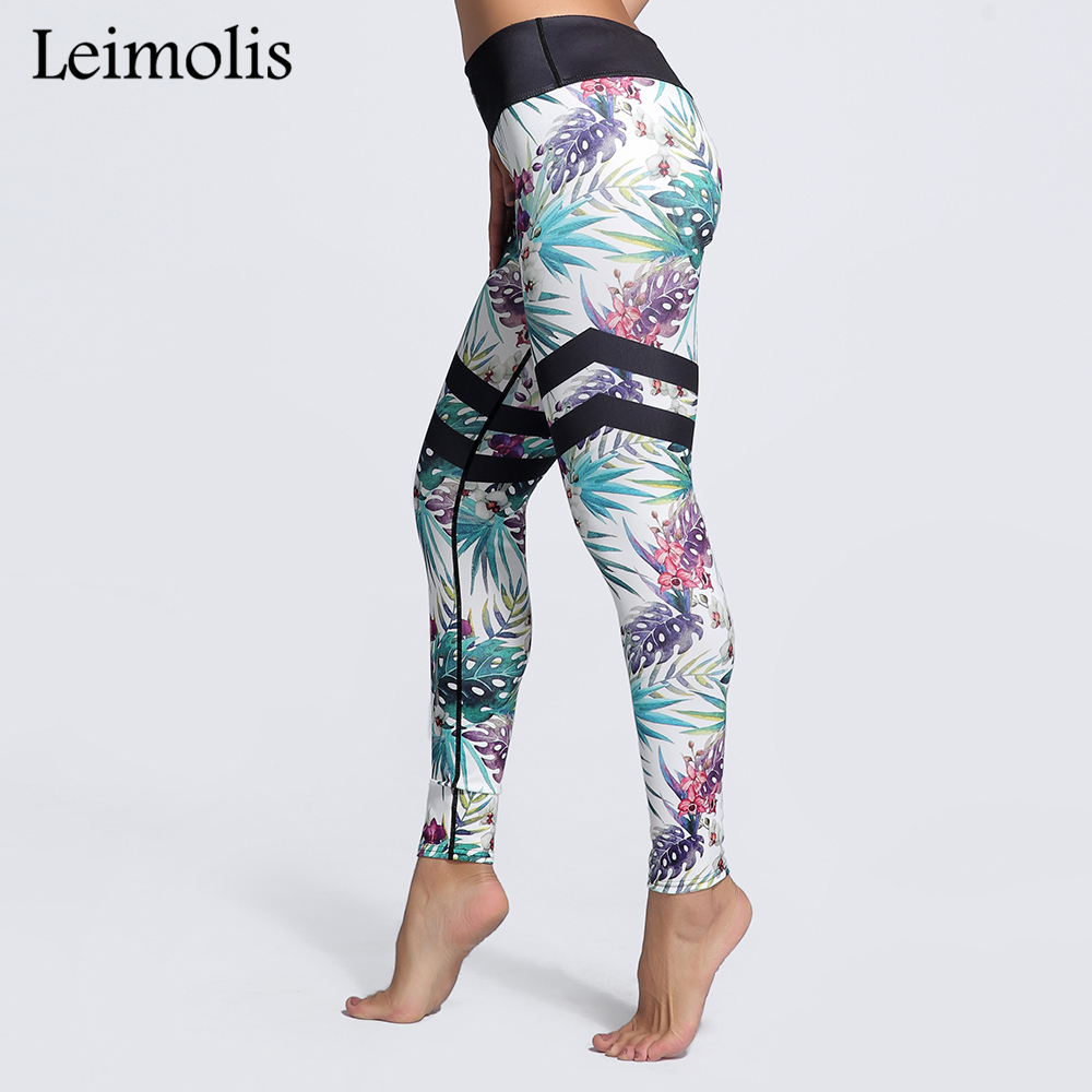 Leimolis 3D print Rain forest leaf flower winter Harajuku High Waist workout push up plus size fitness leggings women pants