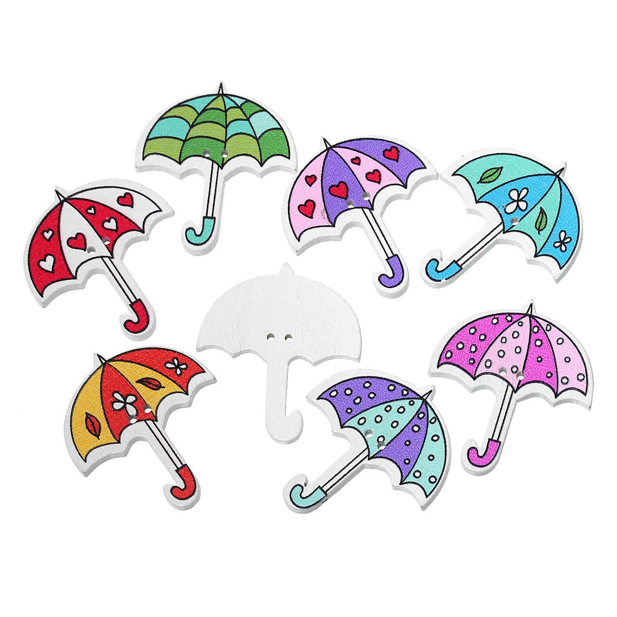 "DoreenBeads Wood Sewing Button Scrapbooking Umbrella At Random Two Holes 3.5cm(1 3/8"")x 3.0cm(1 1/8""),8 PCs"