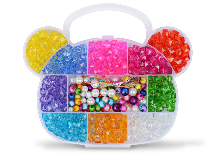 Children DIY Plastic Acrylic Bead Kit Girl Toys DIY Beaded Handmade Bracelet Amblyopia Training Color Puzzle Early Education Toy (6)