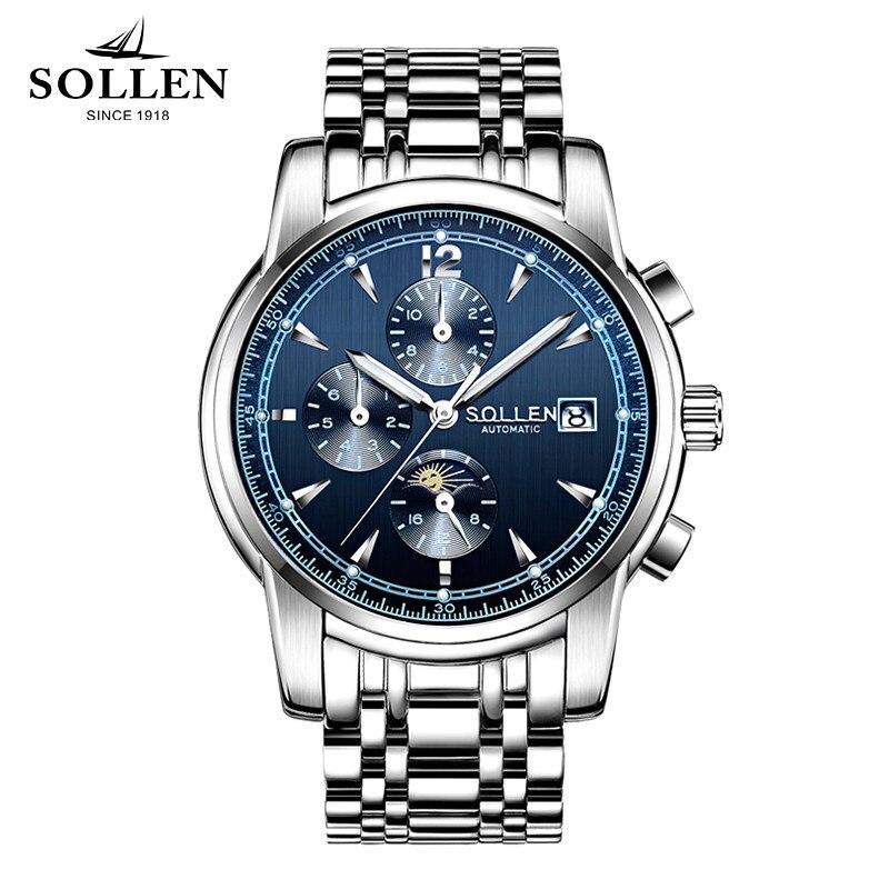 watch men SOLLEN 803 automatic mechanical watches fashion sapphire steel clock waterproof multi-functional male wristwatches 803