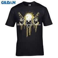 Gildan عدن ميتاليكا صخرة تي شيرت رجل الجماجم الطباعة التعادل صبغ تي شيرت تفعل النمط القديم أزياء الشرير رجل t-shirt