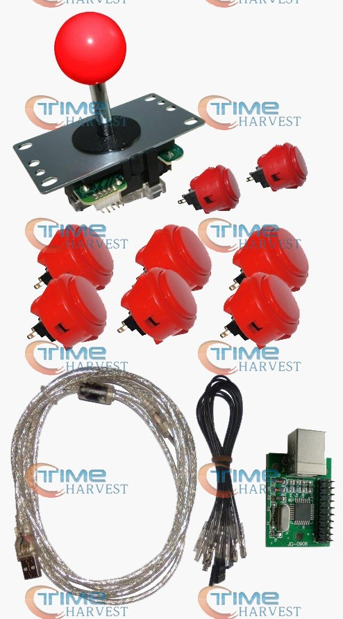 ФОТО Arcade parts Bundles kit With Sanwa Joystick OBSF-30 buttons 1 player USB adapter PCB encoder To Build Up Arcade Joystick