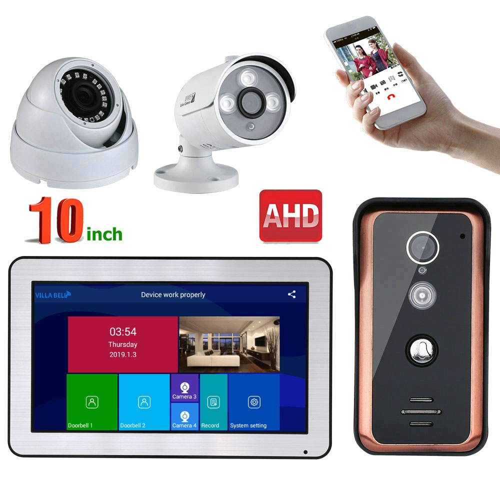 10 Inch Wired Wifi Video Door Phone Doorbell Intercom Entry System And 2CH AHD Security Camera,Support Remote APP Intercom
