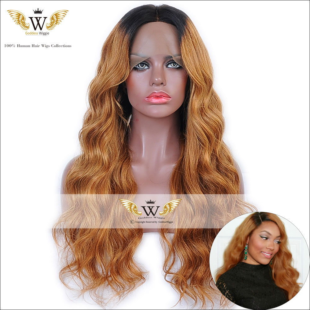 6A Two Tone Full Lace Ombre Human Hair Wigs/ Glueless lace Front Wig Ombre / Human Hair WigsBlonde Ombre  Lace Wigs