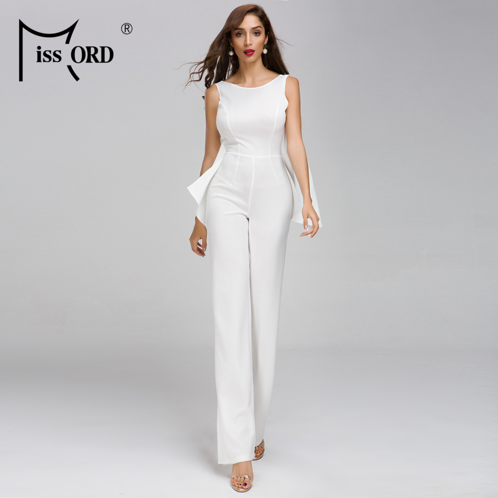 Missord 2019 Women Fashion Backless Off Shoulder Solid Color Irregular Elegant   Jumpsuit   FT19312-1