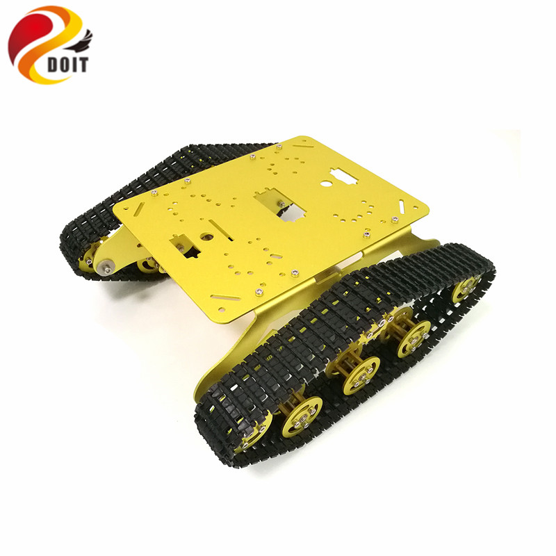 DOIT TS300 Shock Absorption Robot Tank Chassis RC Tank Model Tracked Car with Dual DC 12V Motor+Plastic Tracks+Suspension Parts diy 85 light shock absorption plastic tank chassis with rubber crawler belt tracked vehicle big size
