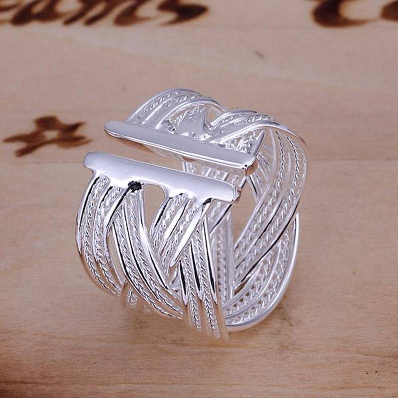 8dc597c04c82a New 925 Sterling Silver Ring Fashion Woven Mesh Open Ring Women Men Gift Silver  Jewelry Finger Rings