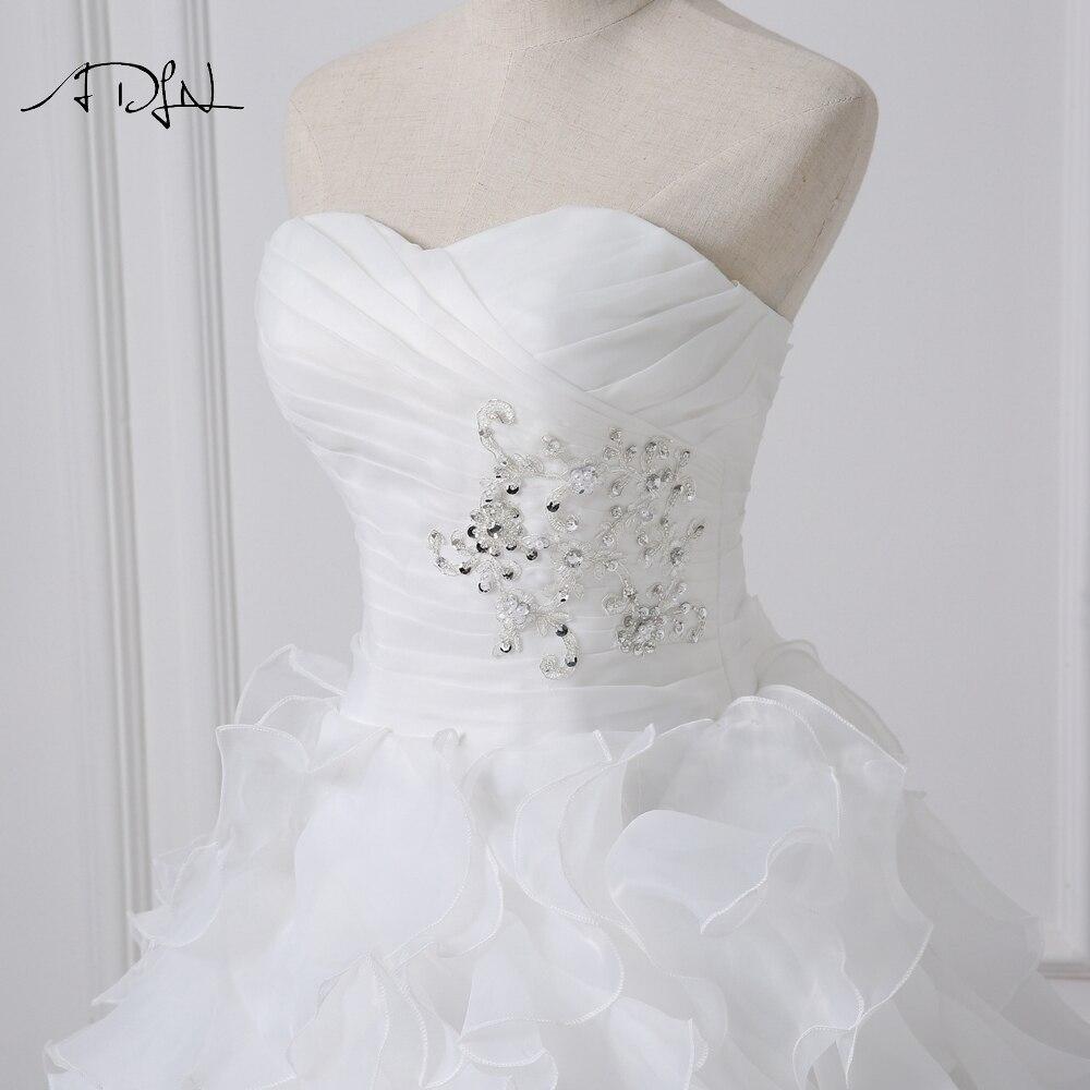 ADLN 2018 Stock Corset Wedding Dresses Ivory White Robe de Mariee Princess Organza Beaded Ruffled Plus Size Cheap Bridal Gowns