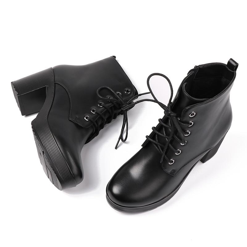 Koovan bottes femme 2018 Style hiver bottes à talons hauts bottes en cuir femme fond épais imperméable velours chaud chaussures en cuir