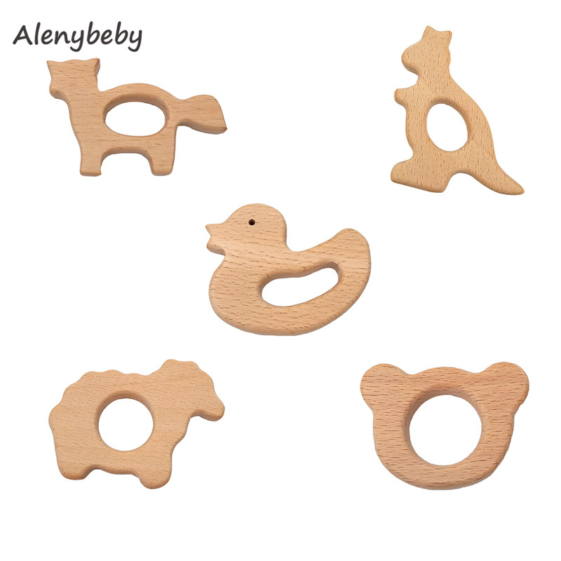 Nature Wood Teething Toys Wooden Teether Animal Shape Montessori Toys Wood Teether Rings Organic Infant Teether Handmade Pendant