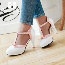 RIZABINA Size 32-48 High Heel Women Sandals bow Wedding Shoes Womens Square Heels Round Toe Platform Footwear