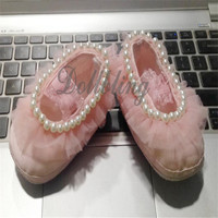 Pink/White/Purple 0 1Yrs Princess Baby Girl Handmade Sewing Lace Pearls Elastic Band Soft Soled Infant Bowknot Crib Shoes