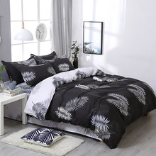 3/4pcs/set Brief Black Leaf Printing Textile Bedding Set Include Duvet Cover &Sheets&Pillowcases Cover Comfortable Home Bed Set(China)