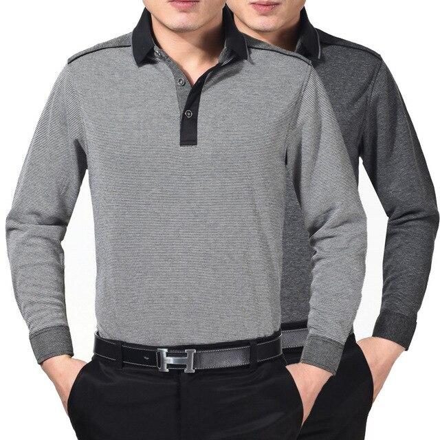 Los hombres camisa de polo 2016 nuevo invierno mens camisas de negocios de la solapa de manga larga de punto flojo ocasional de mediana edad papá equipado polos