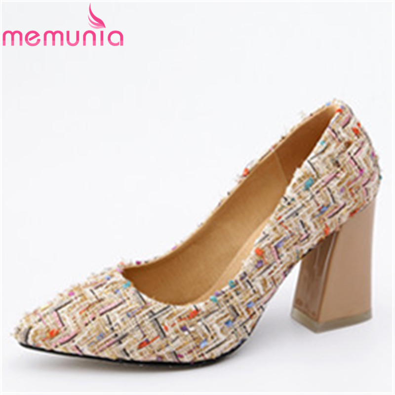 MEMUNIA new arrival women high heels dress shoes fashion pointed toe cloth pumps ladies shoes elegant single shoes size 34-46 plus big size 34 47 shoes woman 2017 new arrival wedding ladies high heel fashion sweet dress pointed toe women pumps a 3
