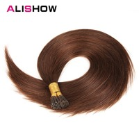 Alishow Pre Bonded Fusion Hair 1g/Strands I Tip Stick Keratin Remy Human Hair Extensions Silky Straight Professional Salon