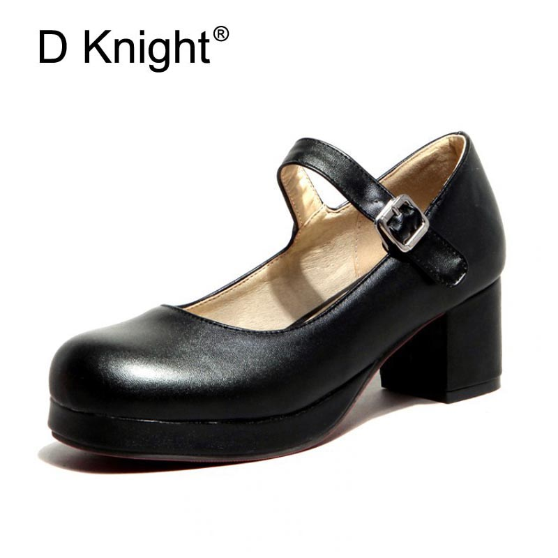 4f2f8bf7e0 2017 New Women Casual Mary Jane Pumps Fashion Ladies Platform Thick High  Heels Work Shoes For Woman Plus Size 34-43 Black Purple